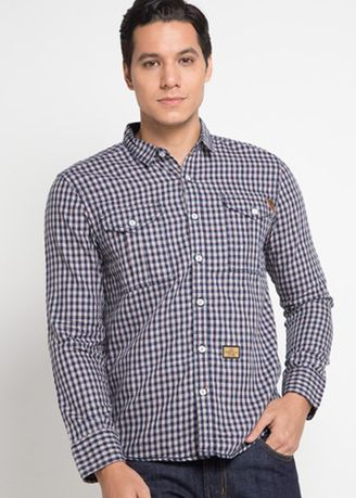 Navy color Casual Shirts . EMBA JEANS- Murdho Shirt One in Navy -