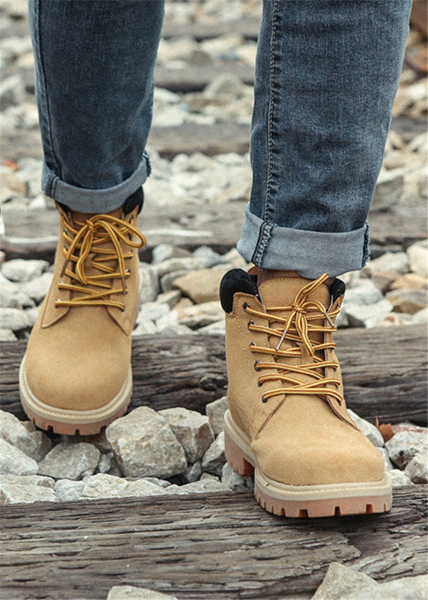 Khaki color Boots . Men's Suede Leather Basic Martin Boots -