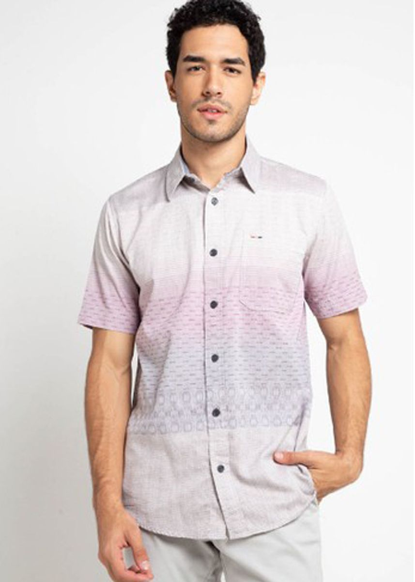 Abu-Abu color Kemeja Kasual . EMBA CLASSIC-Brizziline Men's Casual Shirt in Grey -