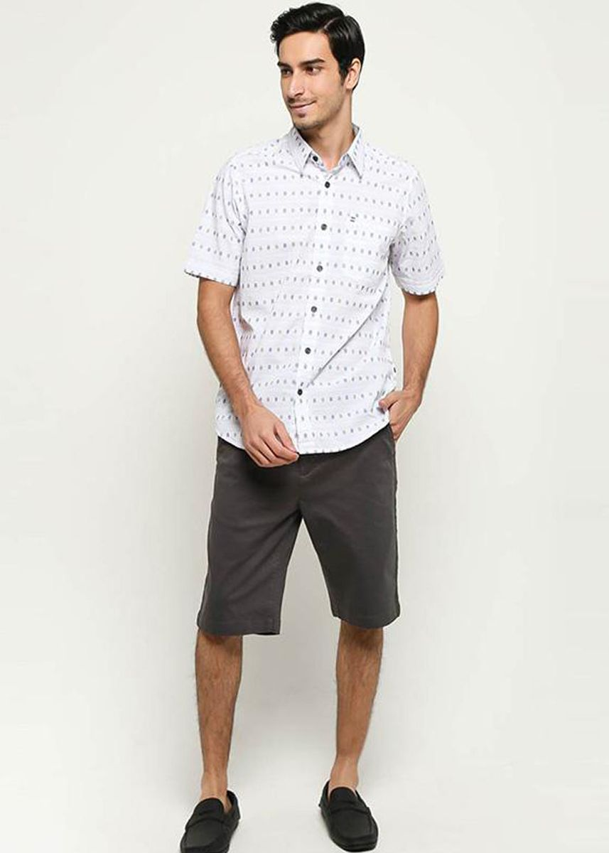 White color Casual Shirts . EMBA CLASSIC-Nixon 02 Two Men's Shirt in White -