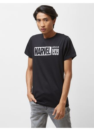 Black color T-Shirts and Polos . Official MARVEL 80th Monochrome 1939 Round-Neck T-shirt with Short Sleeves -