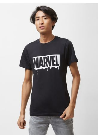 Black color  . Official MARVEL 80th Monochrome Marvel Block T shirt with Upturned Sleeve Hems -