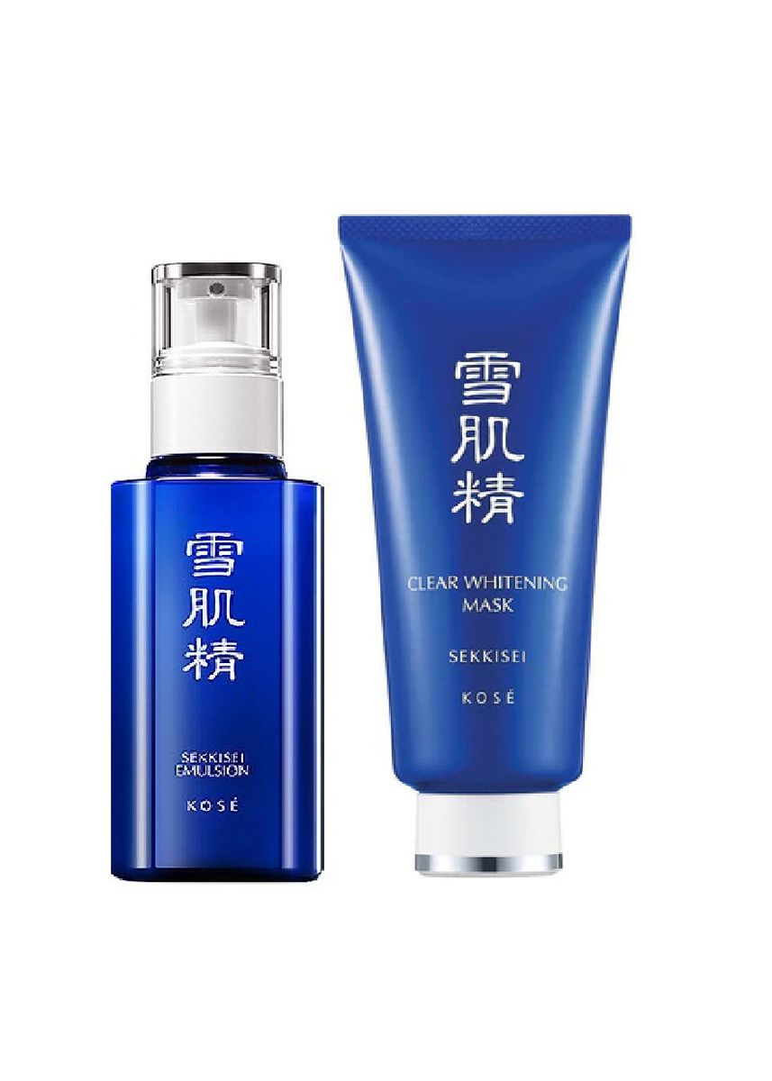 No Color color Whitening & Brightening . Kose Sekkisei Emulsion 70ml and Clear Whitening Mask 80g -