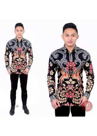 Multi color Kemeja Formal . Kemeja Batik Semi Sutra Bird and Flower -