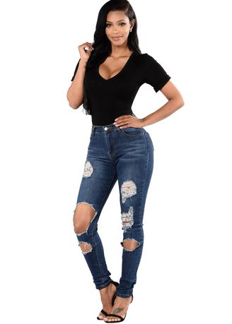 Blue color Jeans . Women's Pencil Shabby Skinny Jeans -