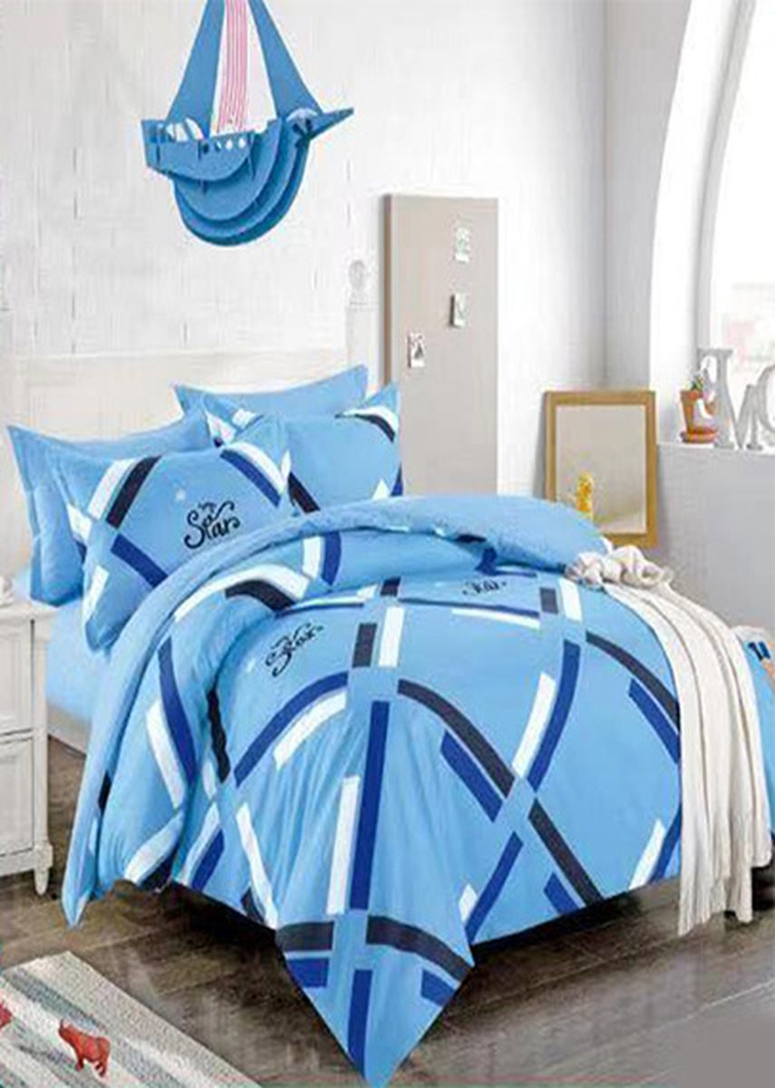 Blue color Bedroom . Celina Home Textiles 4 in 1 Queen Cotton Bed Sheet Set Premium Quality -