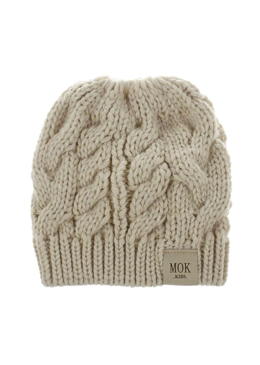 สีเบจ color หมวก . And Winter Hat Children Knitted Acrylic Yarn Two-color Solid -