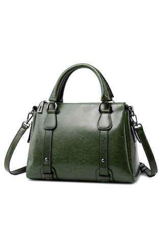 Green color Hand Bags . Women's Genuine Leather Tote Handbag -