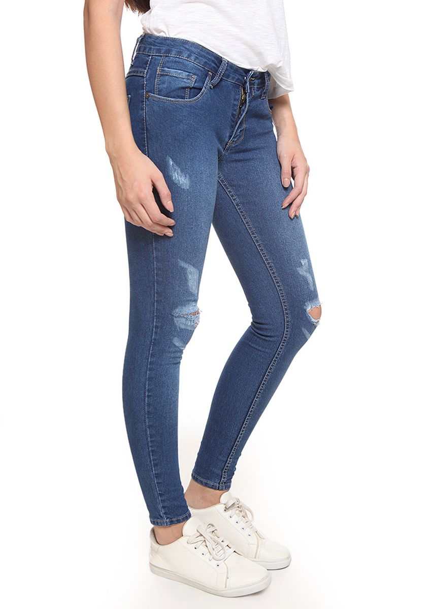 Blue color Jeans . 2RW Ripped Skinny Jeans Wanita Mid Rise Blue  -