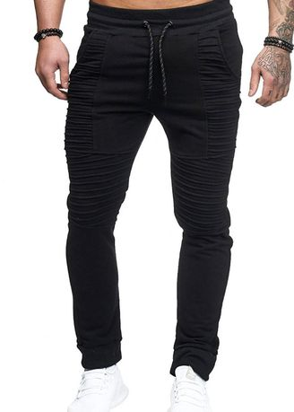 Black color Casual Trousers and Chinos . Men's Autumn and Winter Sports and Fitness Trousers -