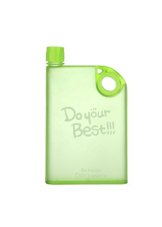 Green color  . Keimav Portable Notebook A5 Memo Plastic Flat Water Bottle 400ml -