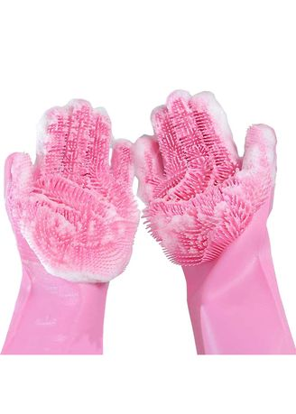 Merah Muda color Dapur . RADYSA Silicone Dishwashing Gloves Magic / Sarung Tangan Cuci Piring - Pink -