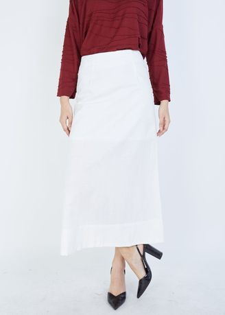 White color Skirts . MSS-STYLISTS A-line Linen Long Skirt -