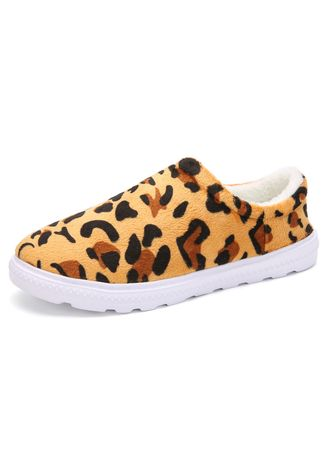Casual Shoes . Leopard Couple Warm Cotton Shoes Ultralight Slip-Ons -