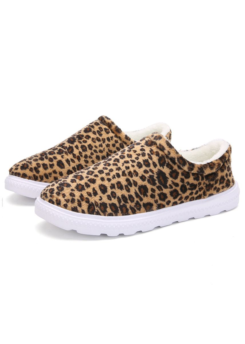 Tan color Casual Shoes . Leopard Couple Warm Cotton Shoes Ultralight Slip-Ons -