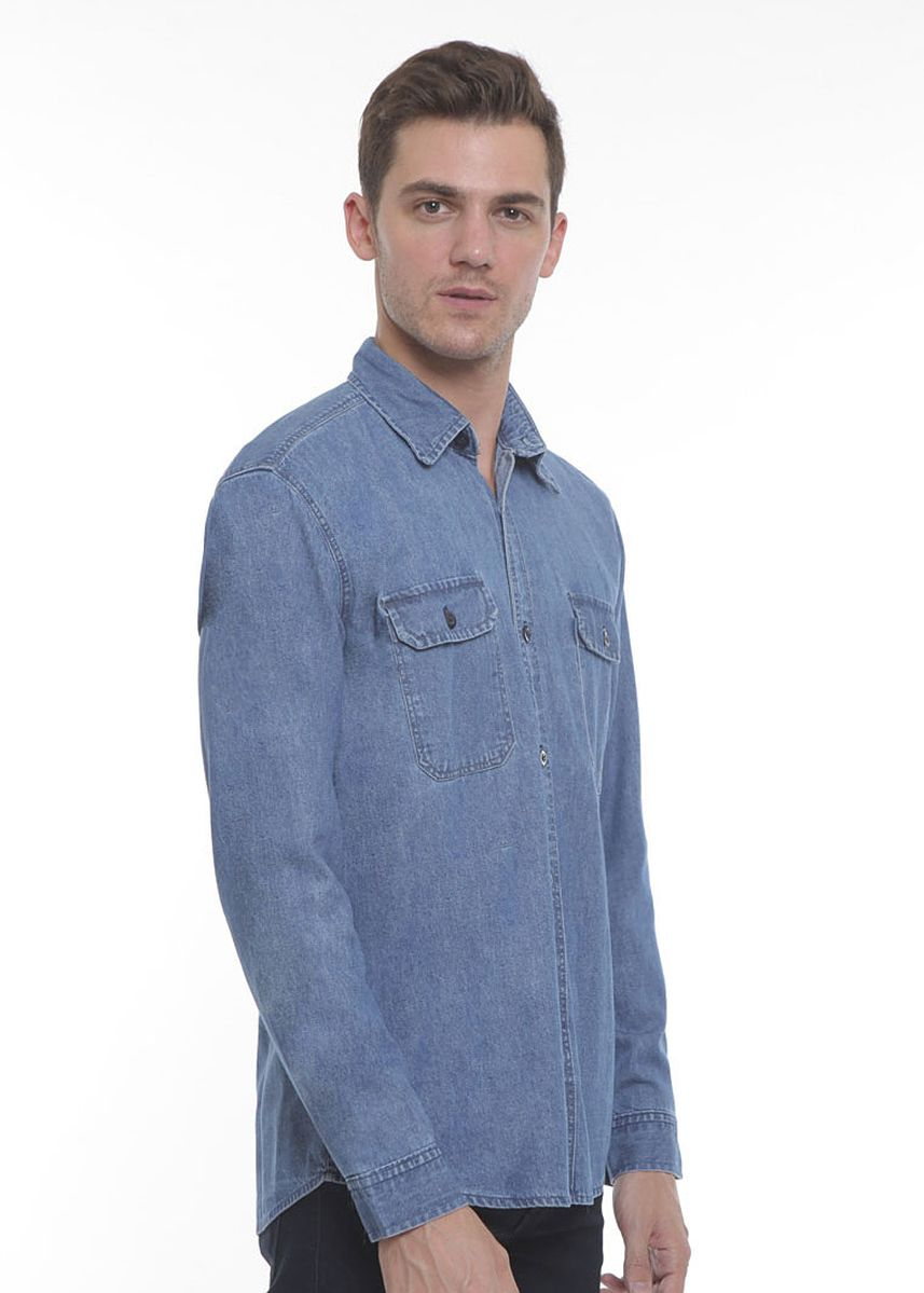 Biru Laut (Sian) color Kemeja Kasual . 2Nd RED Kemeja Denim L/S Slim Fit Island Blue  -