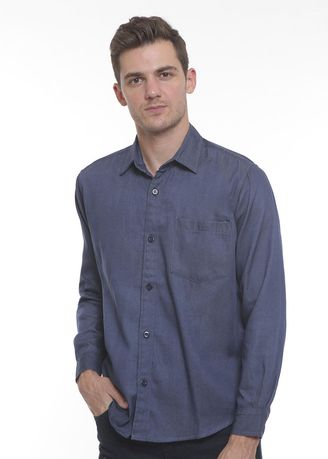 Blue color Casual Shirts . 2Nd RED Kemeja Denim L/S Regular Fit Blue -