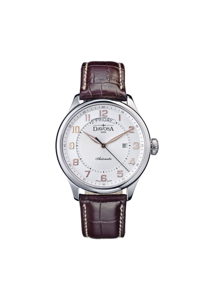 White color Analog . Davosa Pares Classic Automatic White Dial -