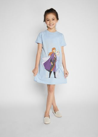 Blue color Dresses . Official Disney's Frozen Printed Shift Dress with Raglan Sleeves  -