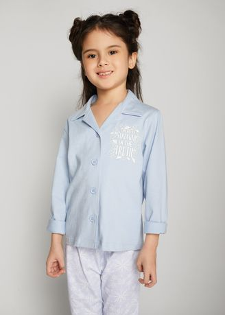Blue color Tops . Official Disney's Frozen Printed Shirt with Notched Lapel -