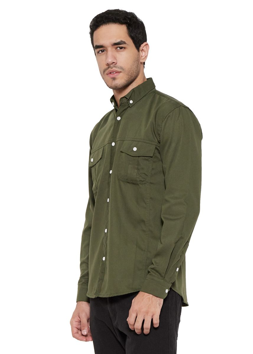 Olive color Casual Shirts . Yelo Jarvis Slimfit -