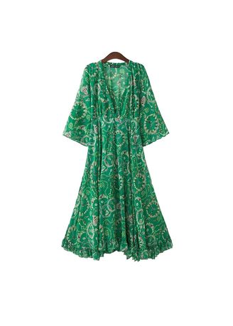 Green color Dresses . MSS-Stylists Romantic Bohemian Style Dress -