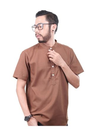 Cokelat color Kemeja Kasual . Elevant Koko Brown -