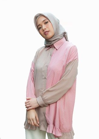 Multi color Atasan . Two Tones Wollpeach Afifa - Atasan Wanita -