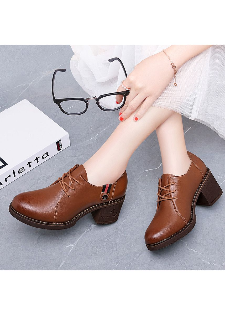 Brown color Heels . British High-Heel Chunky Leather Shoes For Lady -