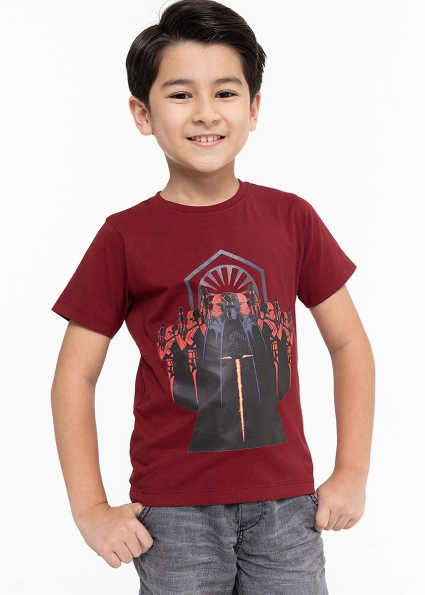 แดง color เสื้อ . Official Disney Star Wars Kylo Ren Print T-shirt with Round Neckline -