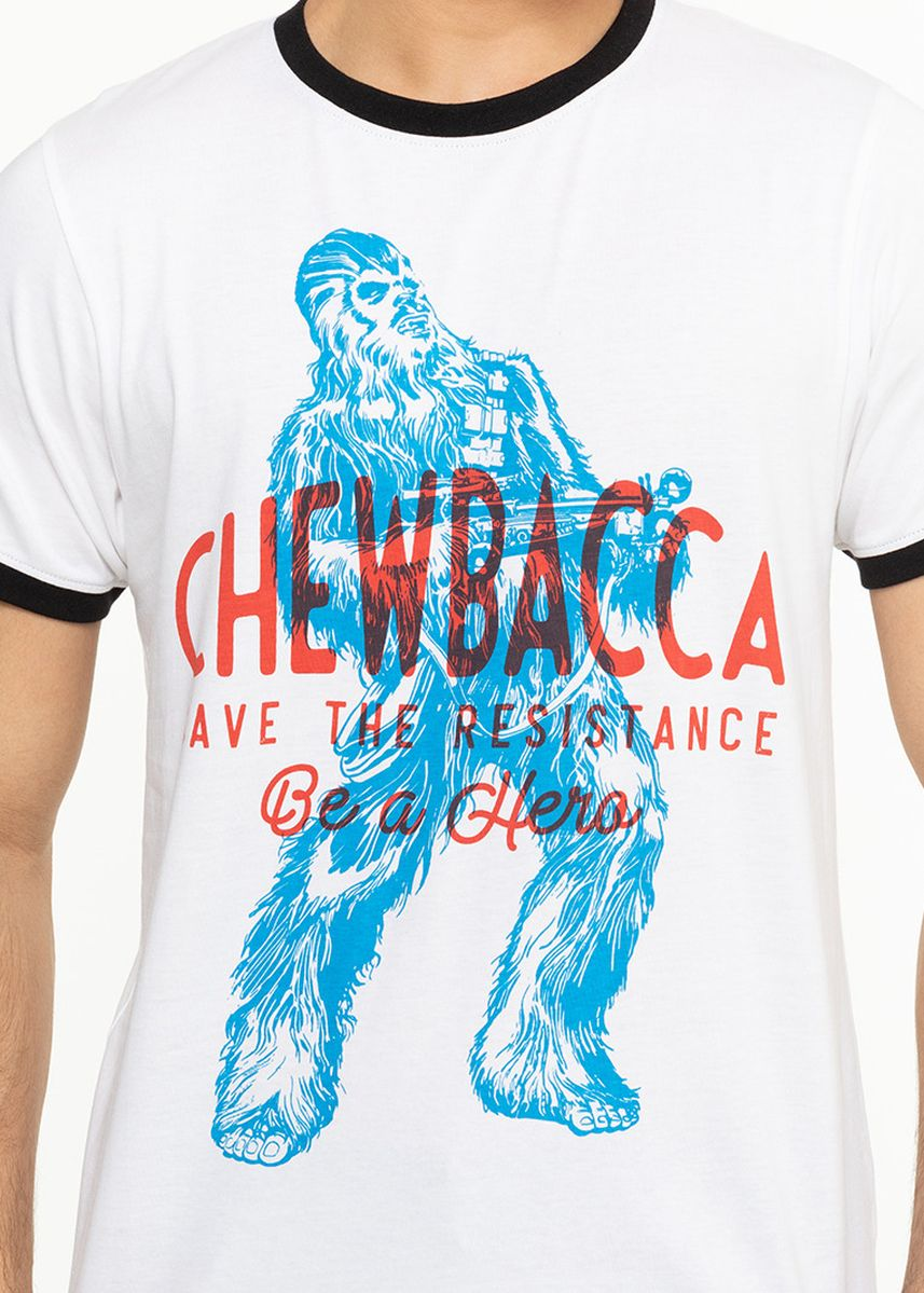 ขาว color เสื้อยืดและเสื้อโปโล . Official Disney Star Wars Chewbacca Print T-shirt with Contrast Hems -
