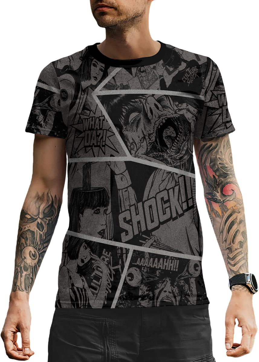 Multi color T-Shirts and Polos . Culture Shock Grunge Comic Strips Men's Tee -