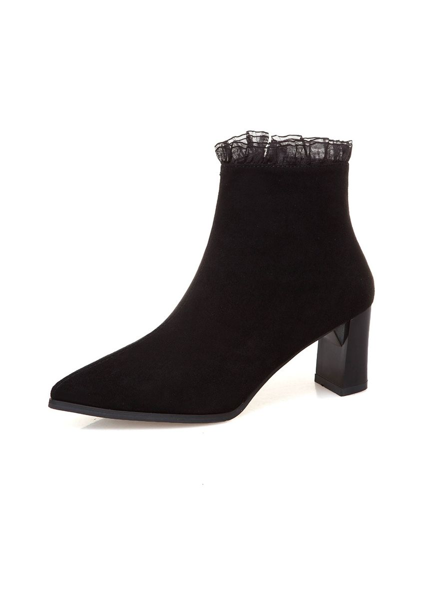 Black color Boots . Women's Thick And Suede Lace Beautiful High  Heel Ankle Boots -