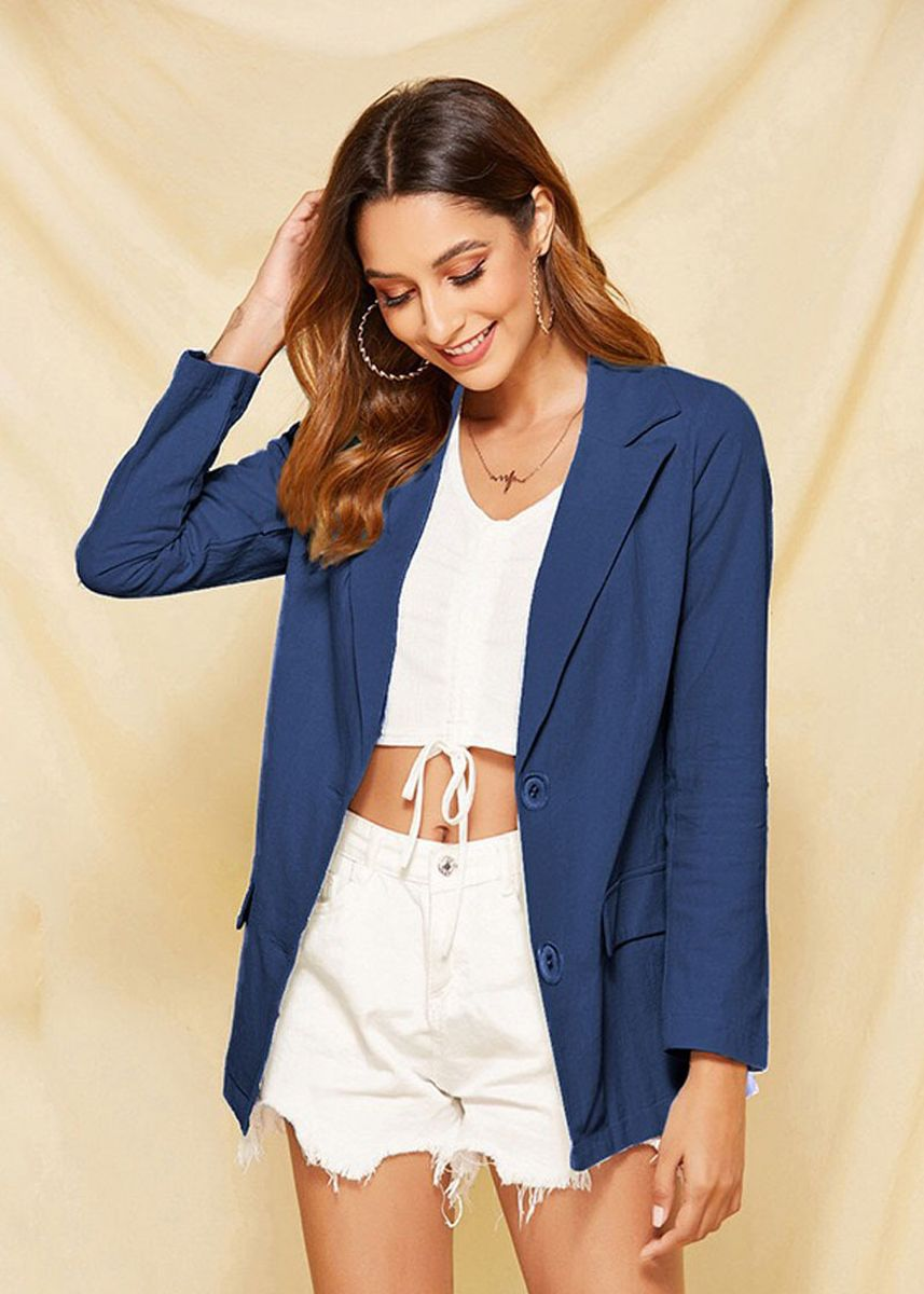 Navy color Jackets . Women's Solid Color Long Sleeve Suit Jacket -