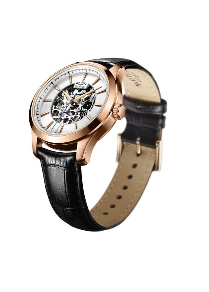 Gold color Analog . Rotary Mecanique PVD Rose Gold Plated Silver Skeleton Dial -