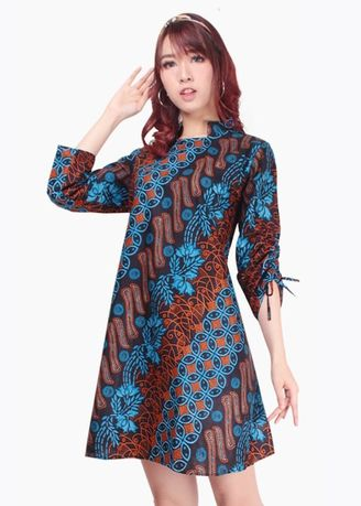 Biru color Terusan/Dress . Miracle Shop Atasan Long Tunik Sania Midi Dress Batik Wanita -