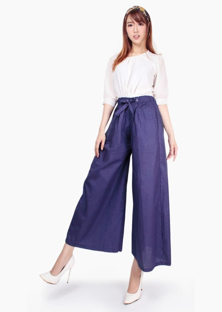 Navy color Trousers . Miracle Shop Celana Kulot Panjang Navita Long Pants Wanita -