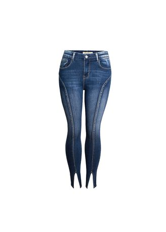 ฟ้า color ยีนส์ . Women's Middle Waist Elastic Split Tide Models High Jeans -