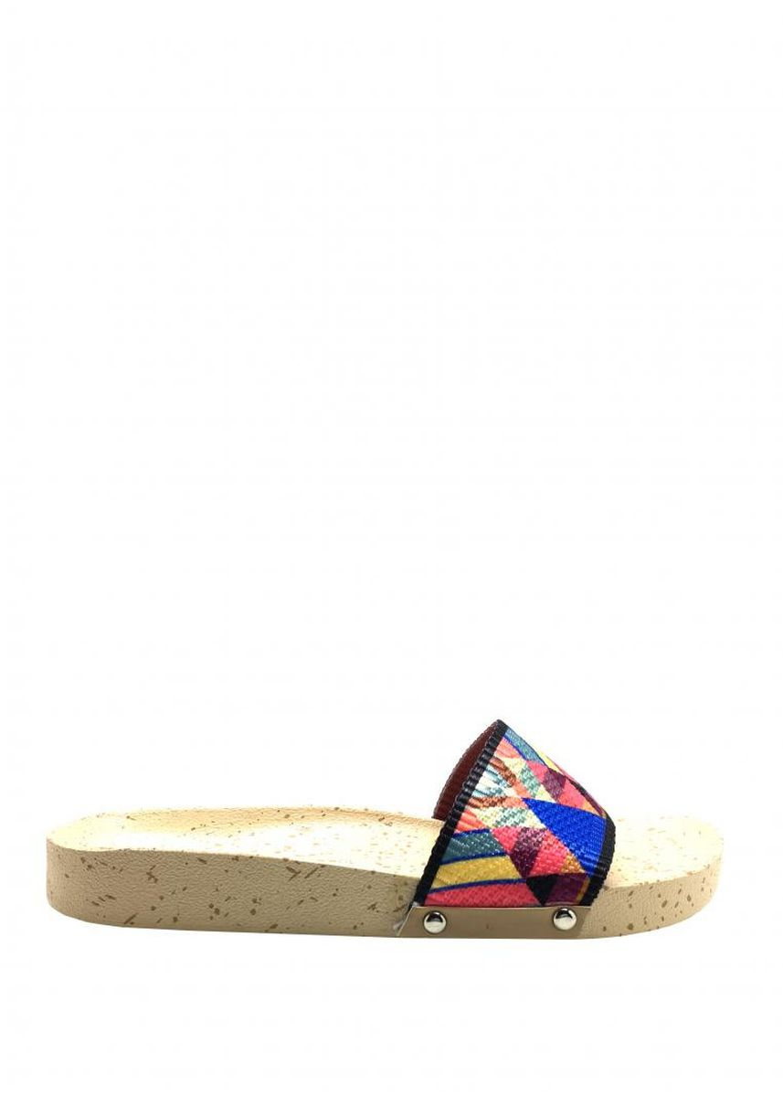 Multi color Flats . Women's Soft Bottom Beulah Slides -