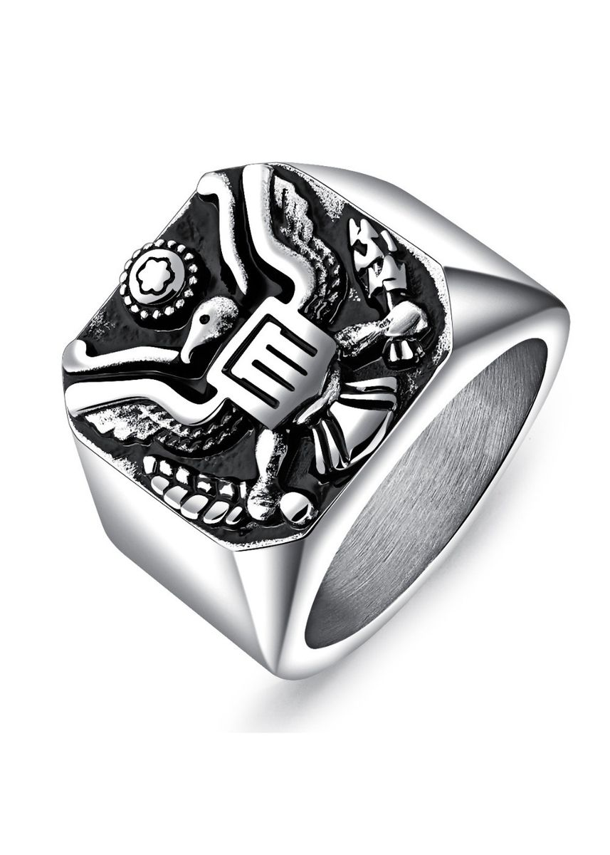 Silver color Rings . Men's Vintage Punk Titanium Steel Ring -