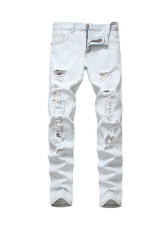 White color Jeans . Man Fashion Solid Color Casual Jeans -