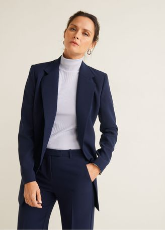 Jackets . MNG Structured Suit Blazer - Navy -