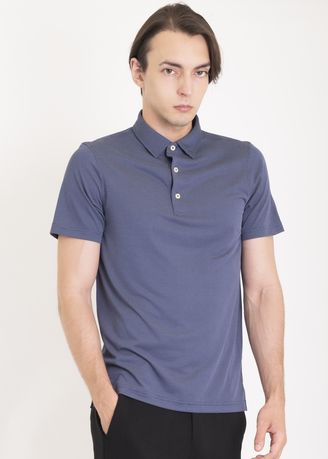 Blue color Sports Wear . Ramé Printed Dry Fit Polo Shirt -