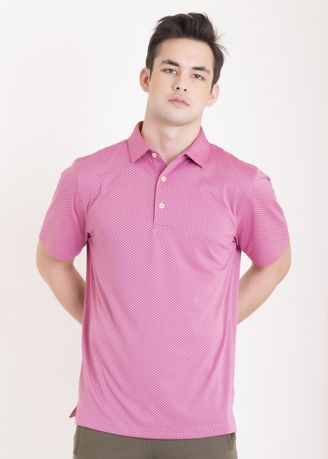 Pink color Sports Wear . Ramé Printed Dry Fit Polo Shirt -