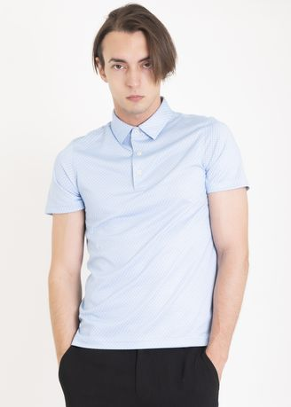 Light Blue color Sports Wear . Ramé Printed Dry Fit Polo Shirt -