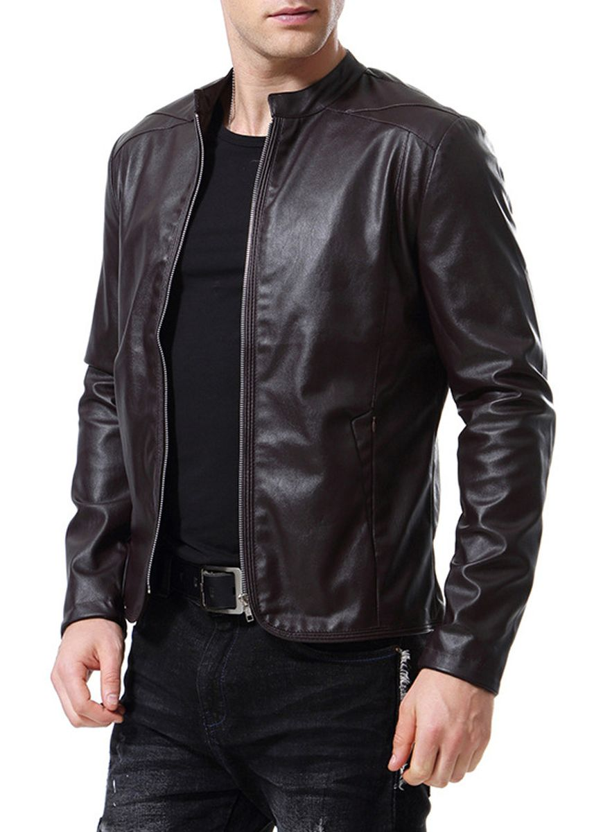 Brown color Jackets . Men's Casual Solid Fashion Leather Jacket -