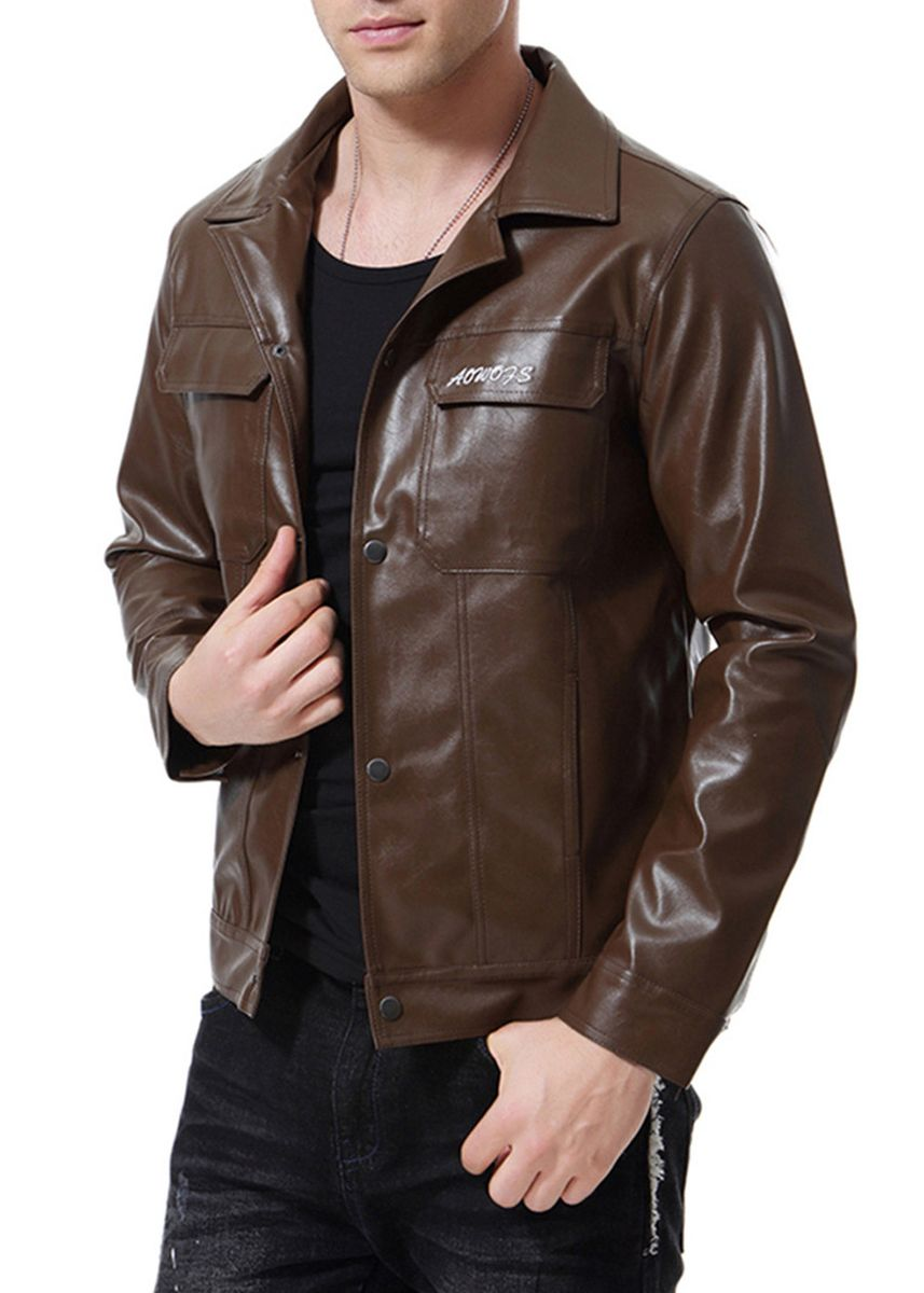 Brown color Jackets . Casual Solid Men's Fashion Leather Jacket -