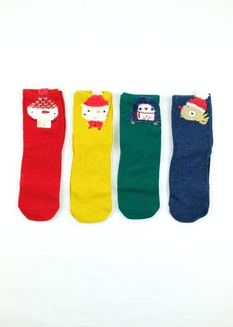 Multi color Socks . Tiny Alpaca 4-In-1 Box Set Printed Colorful Children's Christmas Socks  -
