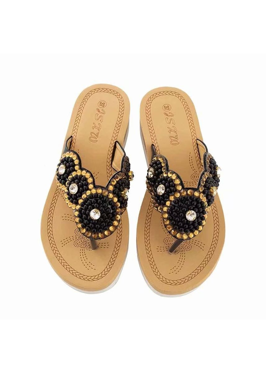 Black color Sandals and Slippers . Bowknot Decor Cozy Stylish Shoes -
