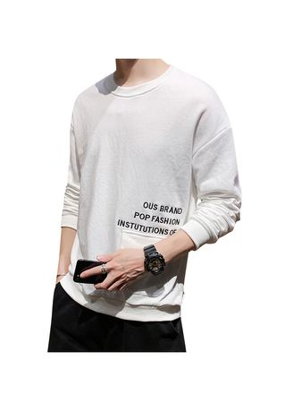 White color Sweatshirts . Solid Color Round Neck Casual Shirt -